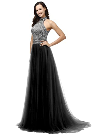 SOLOVEDRESS Womens Luxury Beadedg Prom Dress Halter Evening Dress Gowns Bride (US 2,Black