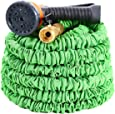 Ohuhu 50 Feet Super Strong Garden Hose / Expandable Hose, 50 ft Expandable Garden Hose with All Brass Connector & Free 8-pattern Spray Nozzle, Green
