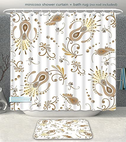 cc07ce445a Aireeo Bathroom 2-Piece Suit Beige Decor Collection Old Style Swirled  Flowers Vintage Inspired Sophisticated