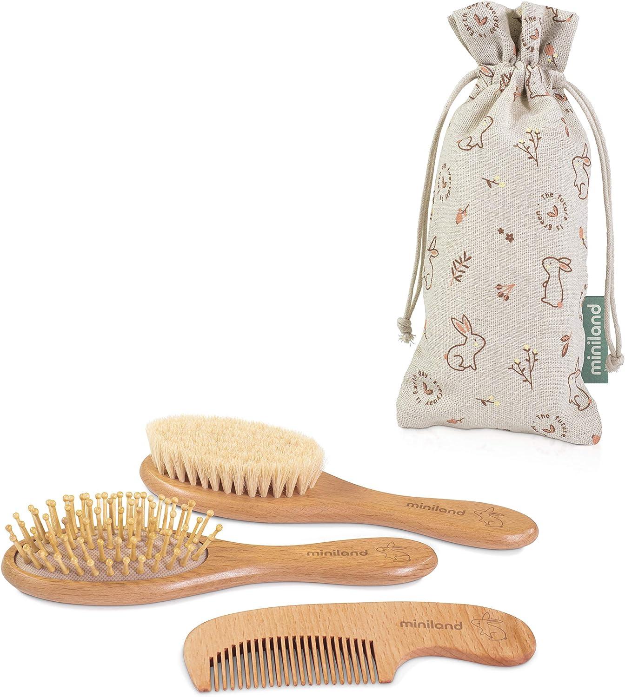 Miniland 89339 - Set de peines para bebé de madera natural en bolsita 100% sostenible, Set de regalo bebé ECO, Colección EcoFriendly