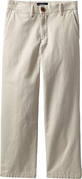 Nautica Boys Slim Flat-Front Twill Uniform Pants