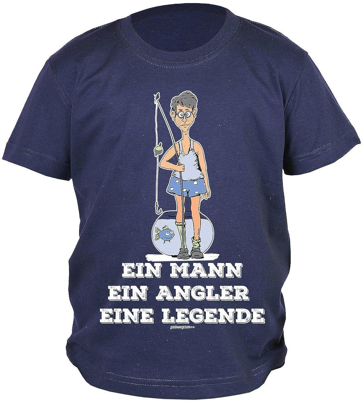 lustige Spr/üche//Motive Angeln f/ür Kinder Bekleidung Kinder Angeln//Angel-Sport EIN Mann EIN Angler Eine Legende Angler Kinder-Shirt