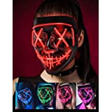 Scary Halloween Mask, LED Light up Mask Cosplay, Glowing in The Dark Mask