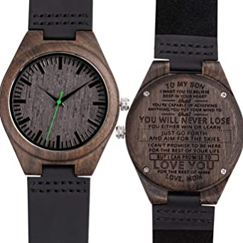 Engraved Watch for Son from Mom,You Will Never Lose Natural Customize Personalized Leather Strap