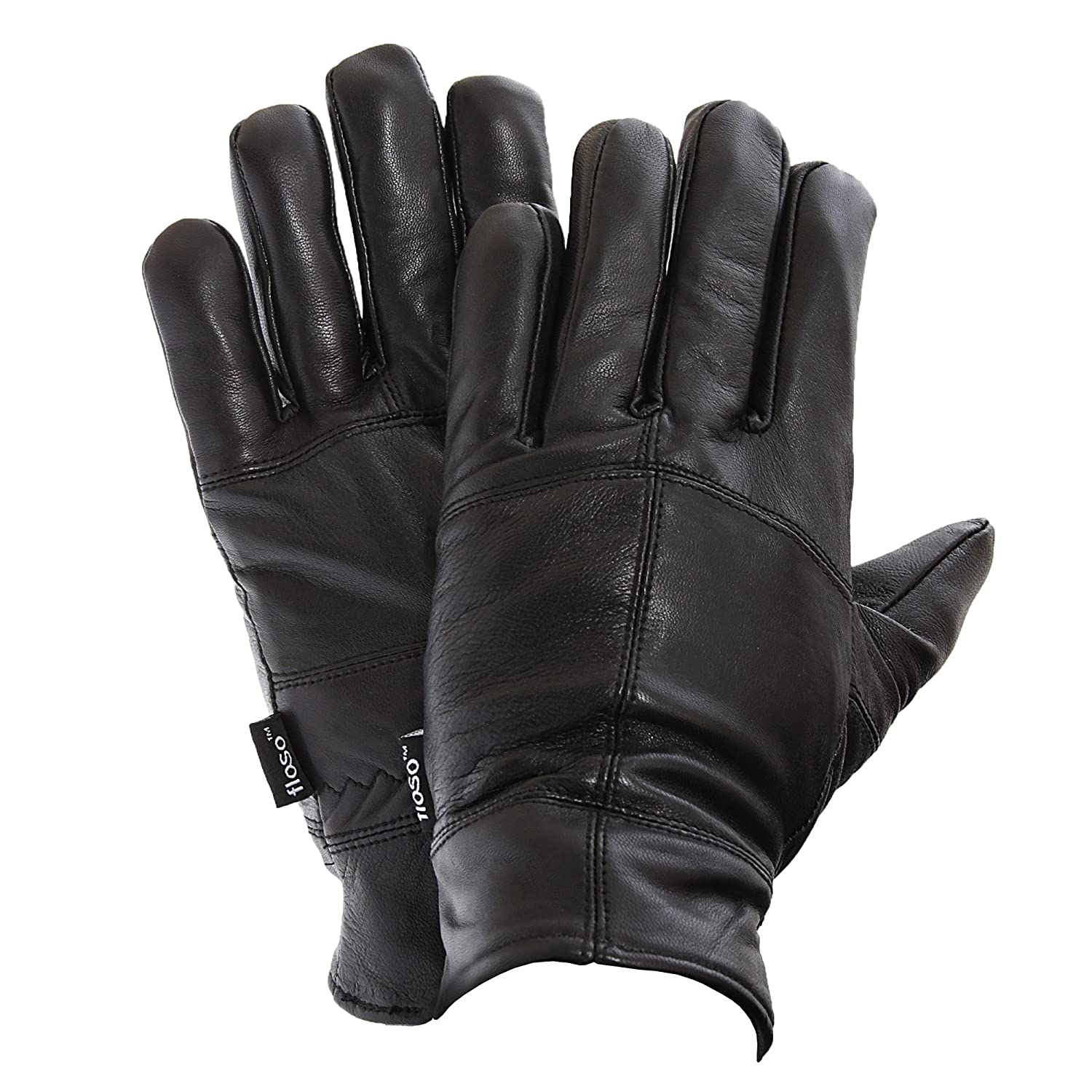 FLOSO Mens Thinsulate Lined Genuine Leather Gloves (3M 40g) (M/L) (Black) UTGL104_2