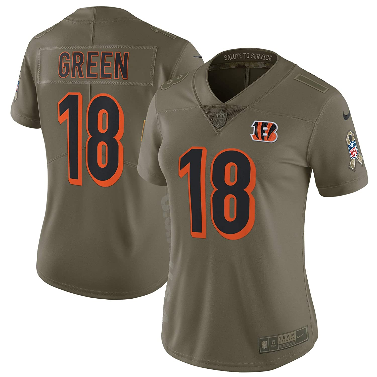 c25acf40823 Amazon.com: Women's Medium AJ Green Cincinnati Bengals Salute To Service  Nike Limited Jersey - Olive: Clothing