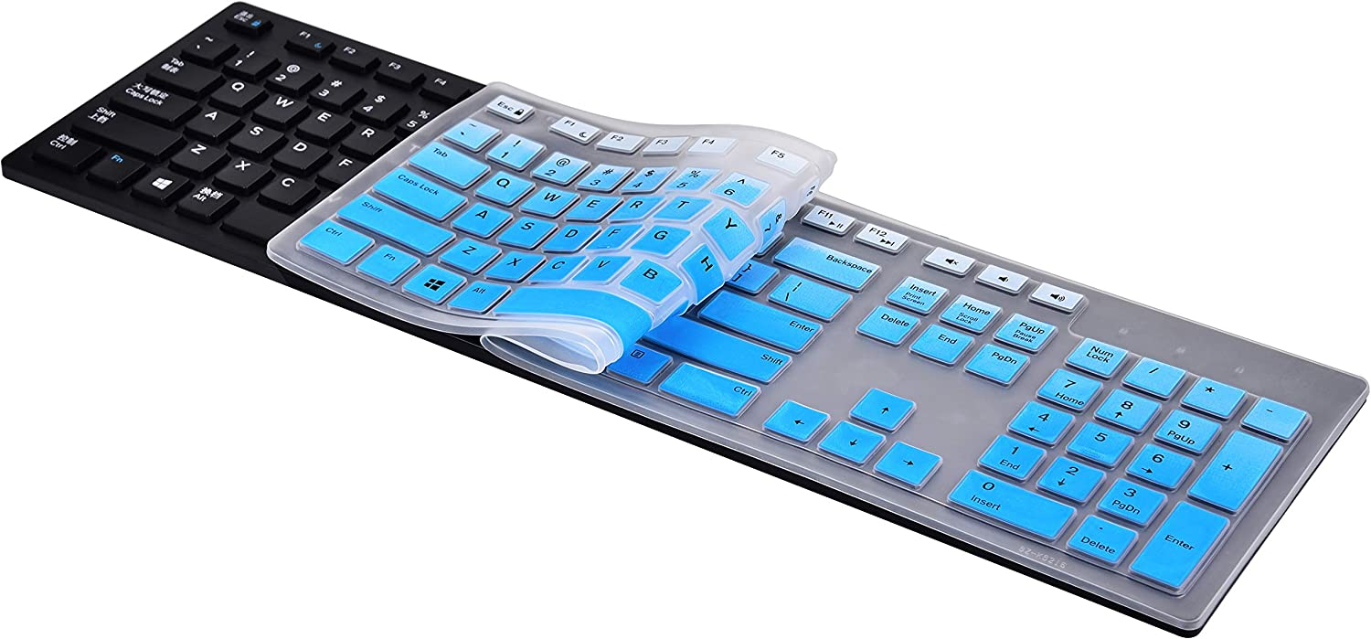 KeyCover - Keyboard Cover Compatible with Dell KM636 KB216 & Dell Optiplex 5250 3050 3240 5460 7450 7050 & Dell Inspiron AIO 3475/3670/3477 All-in one Desktop Keyboard - Gradual Blue