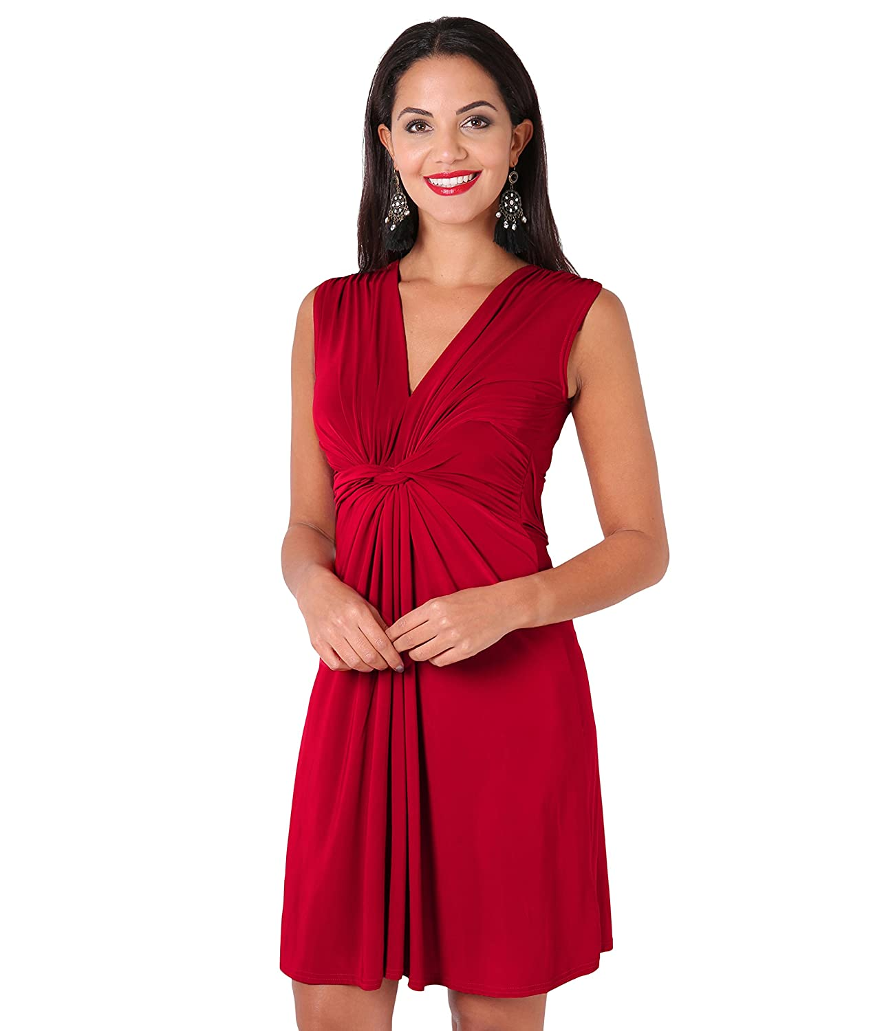 KRISP Women Knot Front Dress Ruched Flattering Stretch Spring Dresses
