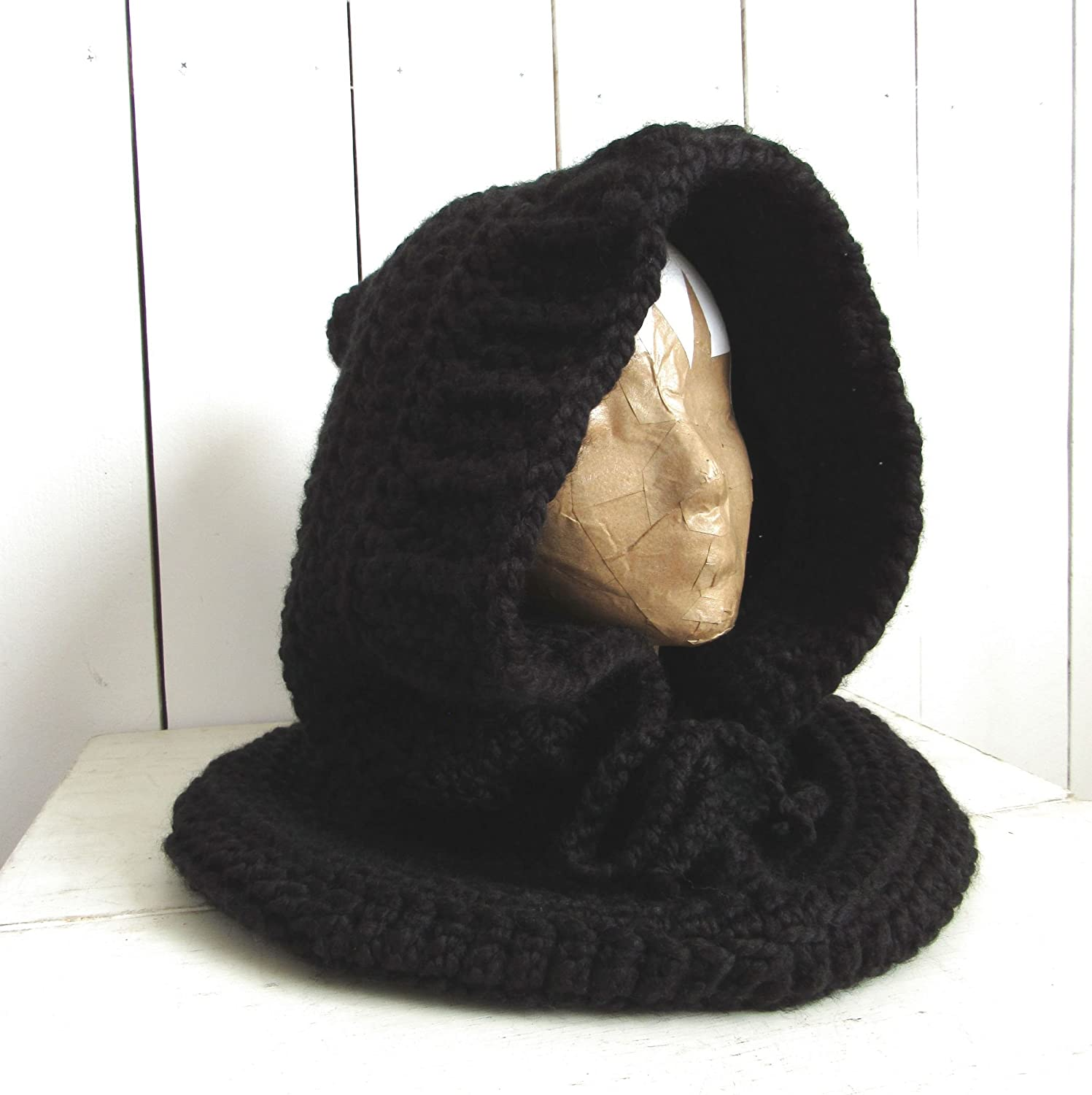 Hand Knit Black Hooded Cowl Scarf (More Color Options Available) - DeluxeAdultCostumes.com
