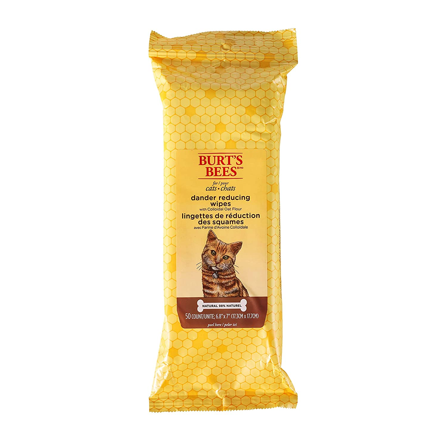 Burt's Bees for Cats Natural Dander Reducing Wipes | Kitten and Cat Wipes  for Grooming | Cruelty Free, Sulfate & Paraben Free, pH Balanced for Cats -