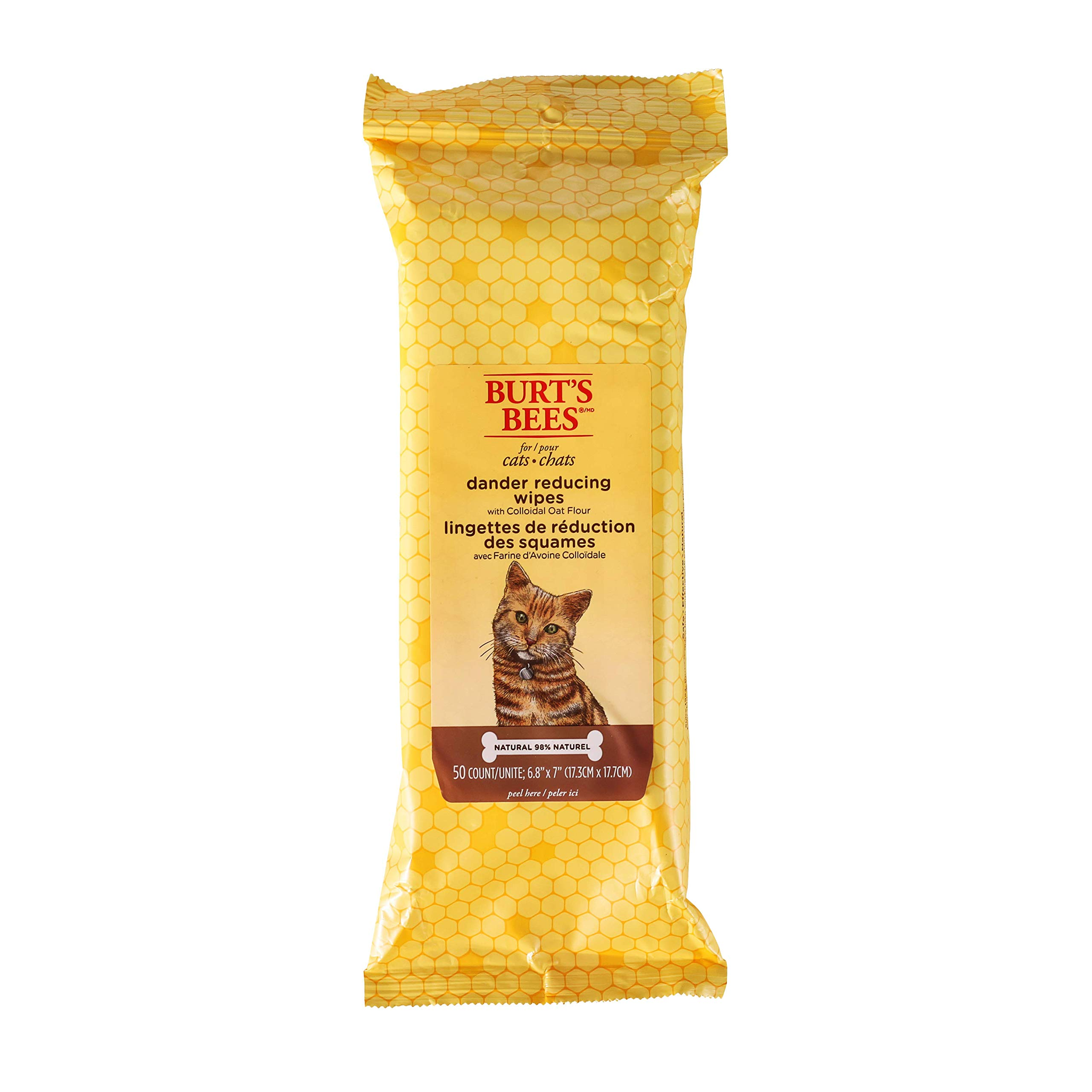 Burt's Bees For Cats Natural Dander Reducing Wipes | Kitten and Cat Wipes For Grooming, 50 Count by Burt's Bees for Pets