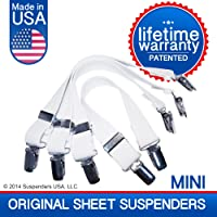 The Original New and Improved Sheet Suspenders ( grippers, fasteners,holders) Brand Mini's. More Adjustable than a Band.