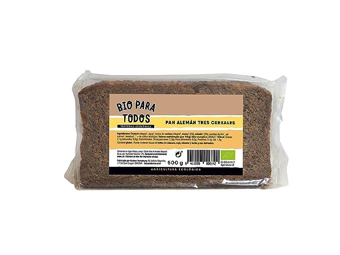 Bio para todos Pan Alemán Tres Cereales Bio - 12 Paquetes de 500 gr - Total