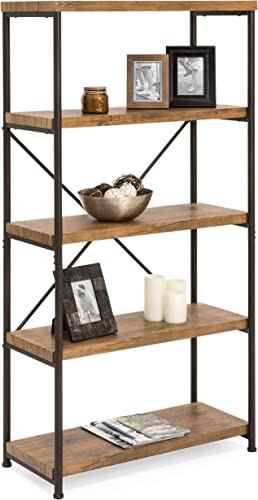 Best Choice Products 5-Tier Rustic Industrial Bookshelf Display Decor Accent w Metal Frame, Wood Shelves – Brown