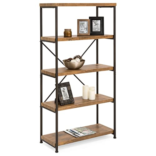 Best Choice Products 5-Tier Rustic Industrial Bookshelf Display D cor Accent for Living Room, Bedroom, Office w Metal Frame, Wood Shelves – Brown
