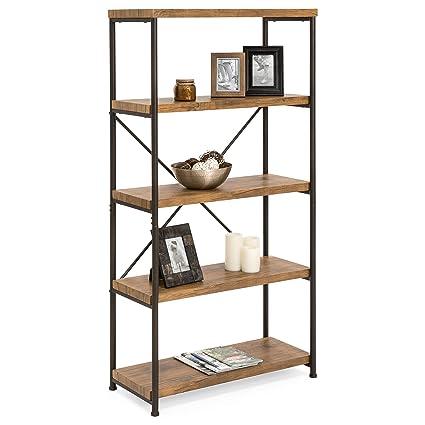 amazon com best choice products 4 tier rustic industrial bookshelf rh amazon com portable product display shelves salon product display shelves