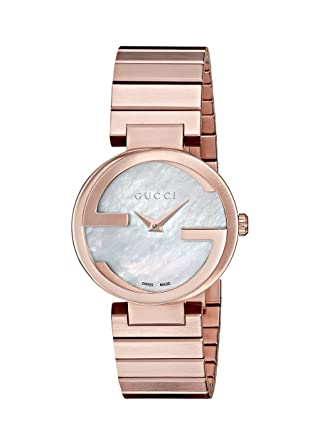 853d191c4c6 Amazon.com  Gucci Interlocking Quartz Metal and Gold-Tone-Stainless-Steel Women s  Watch (Model  YA133515)  Watches