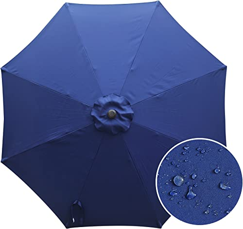 Aok Garden 9Ft Market Outdoor Umbrella Canopy with 250g PA Coating Navy Blue