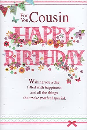 Cousin Birthday Card For You Happy Female Design Amazoncouk Garden Outdoors