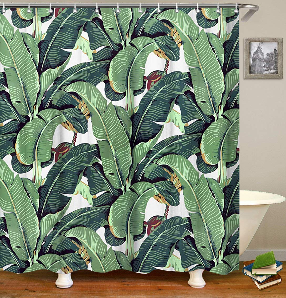 Livilan Tropical Plant Banana Leaf Shower Curtain Set 72'' x 72'' Decorative Mildew Resistant Waterproof Polyester Fabric Bathroom Curtain, Green