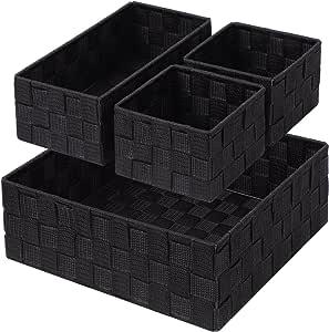 Woven Storage Box Cube Basket Bin Container Tote Organizer Divider for Drawer,Closet,Shelf, Dresser,Set of 4 (Black)
