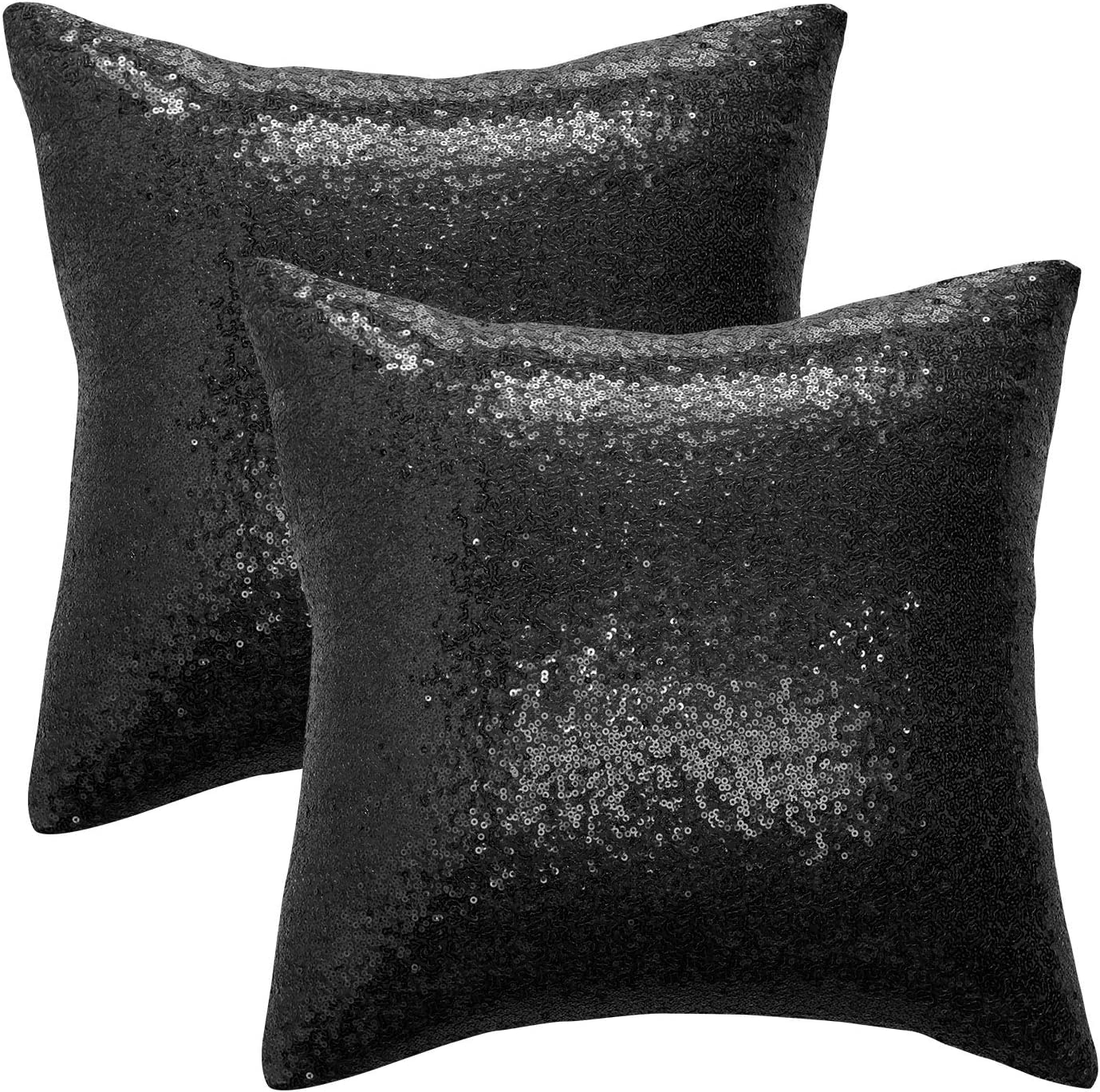 Homonkey Pack of 2, Sequin Throw Pillow Covers, Shiny Sparkling Comfy Satin Cushion Covers, Decorative Cushion Covers for Home Decor/Christmas/Party, 16 x 16 Inch, Black