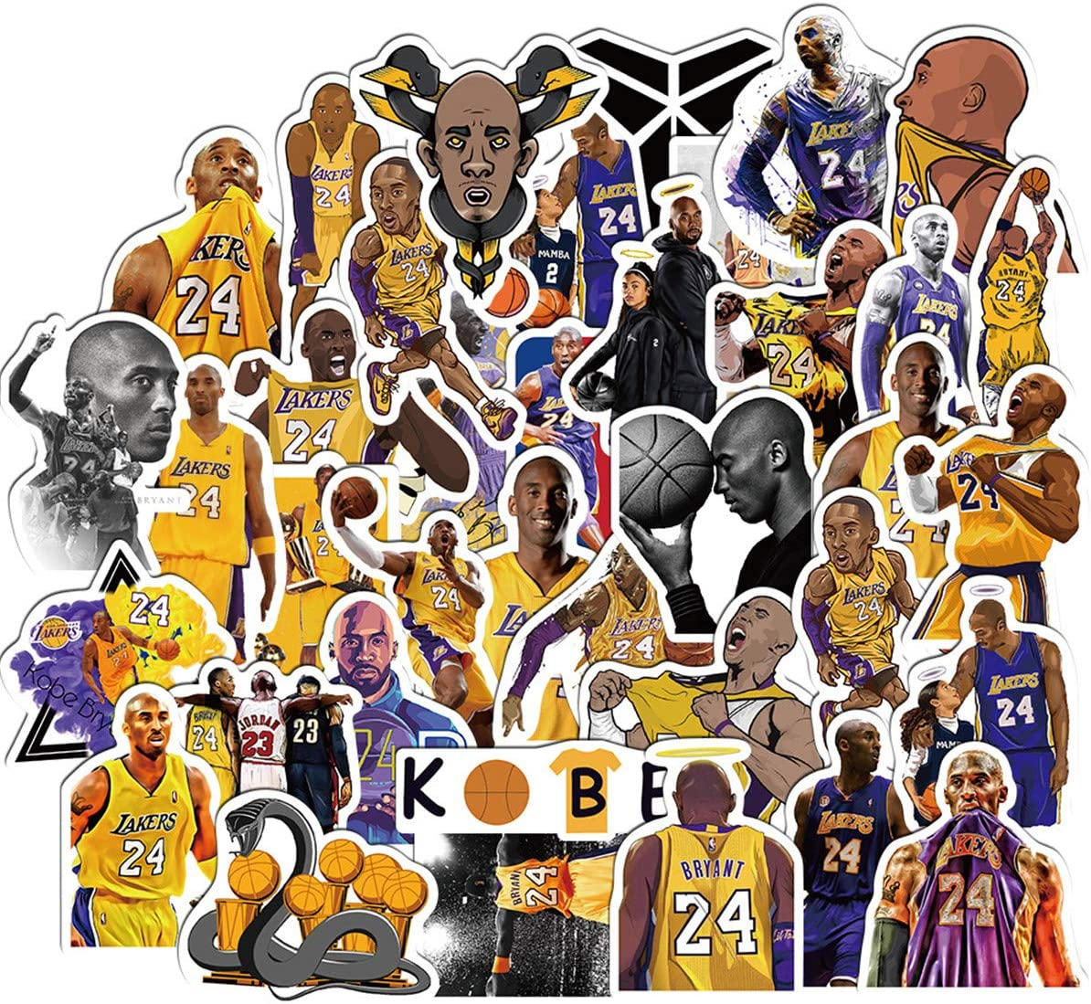 Basketball Star Stickers for Laptop and Computer【50PCS】 Kobe Black Mamba Waterproof Vinyl Stickers for Water Bottle Hydro Flask Car Bumper Luggage,Cute Graffiti Decals for Adults (Basketball Star)