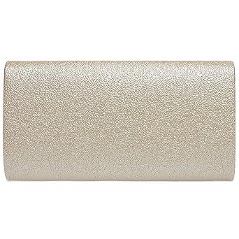 CASPAR TA370 Bolso de Mano Fiesta Elegante para Mujer/Clutch Brillo con Cadena Larga, Farbe:champagner;Mode Größe:One Size: Amazon.es: Ropa y accesorios