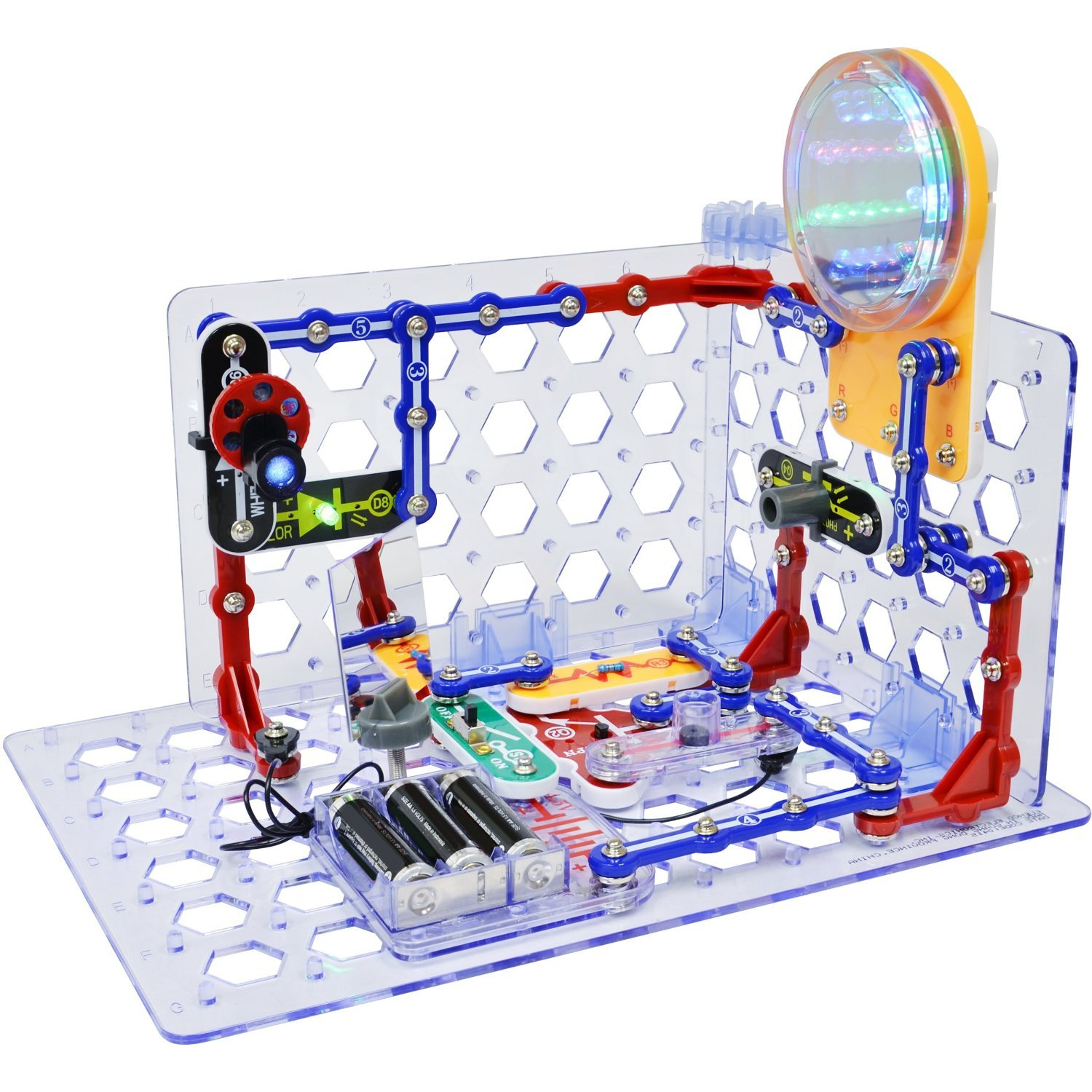 Snap Circuits 3d Illumination Electronics Discovery Snaptricity Kit Build 75 Projects Deluxe Stem With Battery Eliminator Toys Games