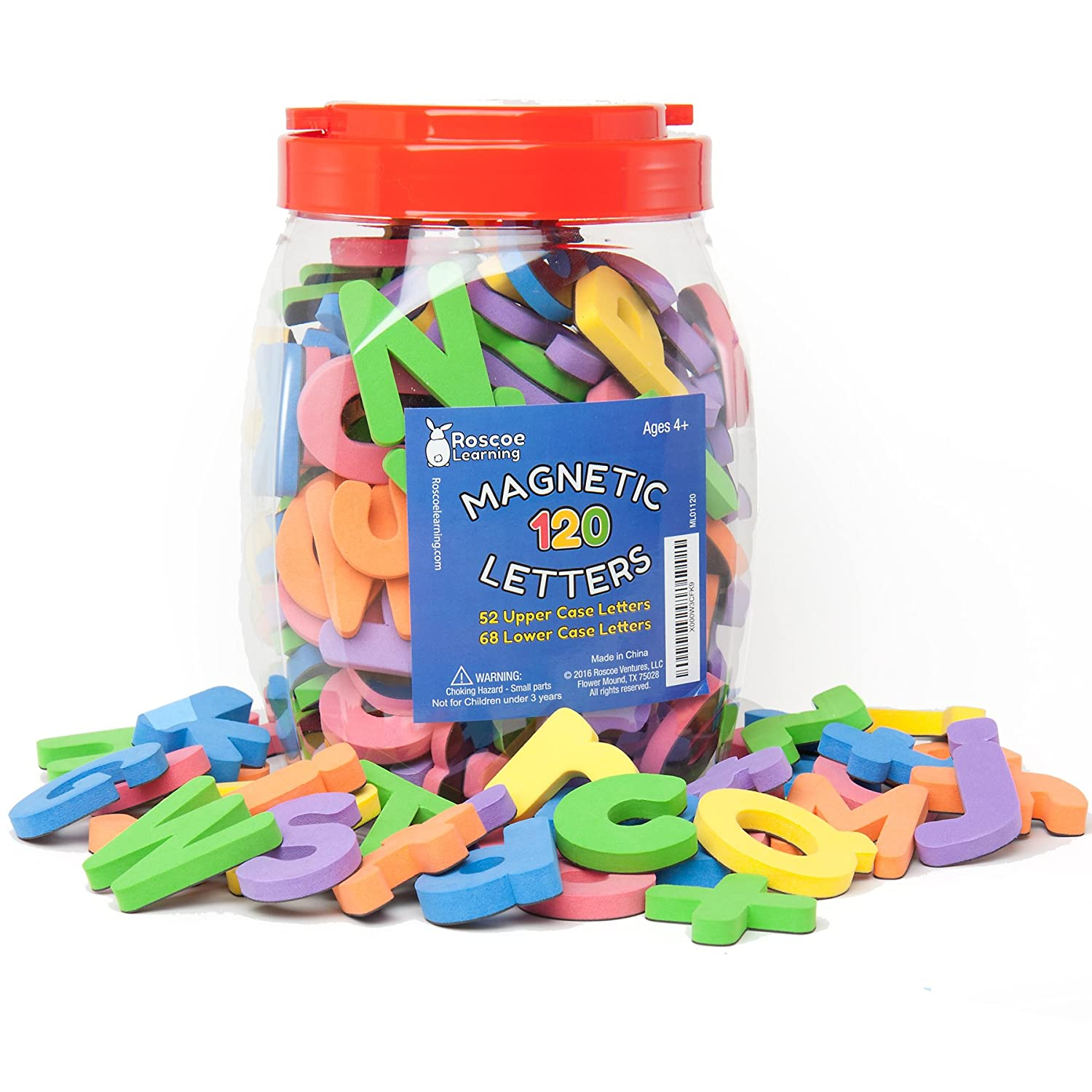 roscoe learning 120 magnetic letters premium foam abc magnets in storage container with handle