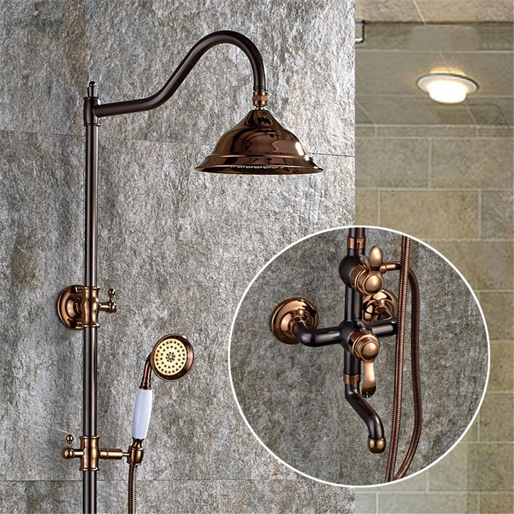 FHLYCF European Style Black Bronze shower set, full bronze retro shower, adjustable shower faucet hand sprinkler by FHLYCF shower faucet