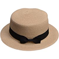 0d22f4ce2983c Lawliet Lady Boater Sun Caps Ribbon Round Flat Top Straw Beach Hat Summer  Hats for Women