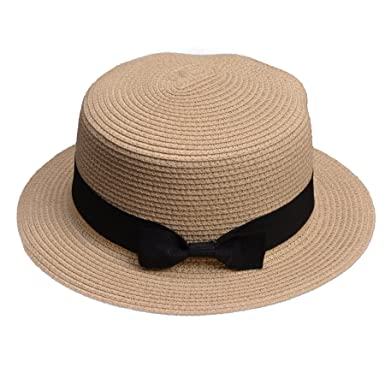 Lawliet Lady Boater Sun Caps Ribbon Round Flat Top Straw Beach Hat Summer  Hats for Women 32f36b06ea38