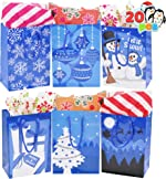 20 Pcs Blue Christmas Gift Bags, Christmas Gift Bags, Holiday Paper