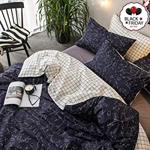 VCLIFE Cotton Bedding Duvet Cover Sets Bedding Collection Queen/Full Luxury Soft Child Constellation Printed Bedding Quilt Cover Sets with Zipper Closure Corner Ties Lightweight Plaid Bed Sets