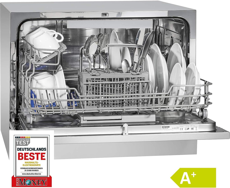 Bomann TSG 708 lavavajilla Independiente 6 cubiertos A+ - Lavavajillas (Independiente, Plata, Compacto, Botones, Acero inoxidable, 6 cubiertos)