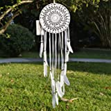 """Ricdecor Handmade Indian Real Feathers Dream Catcher Wall Hanging Car Hanging Decoration Ornament (Dia 8"""" Knitting Style)"""