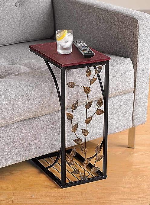 Mesa auxiliar Acazon para sofá, mesa C, bandeja de TV de Estados Unidos, soporte para café, aperitivos, escritorio, cama, mesa auxiliar, computadora portátil, muebles de escritorio para oficina en el hogar,: Amazon.es: