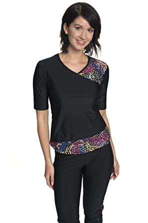 52a1b6e6d27 HydroChic Women s Wrap Swim Shirt – Modest Chlorine Resistant Top -  Black Tiger