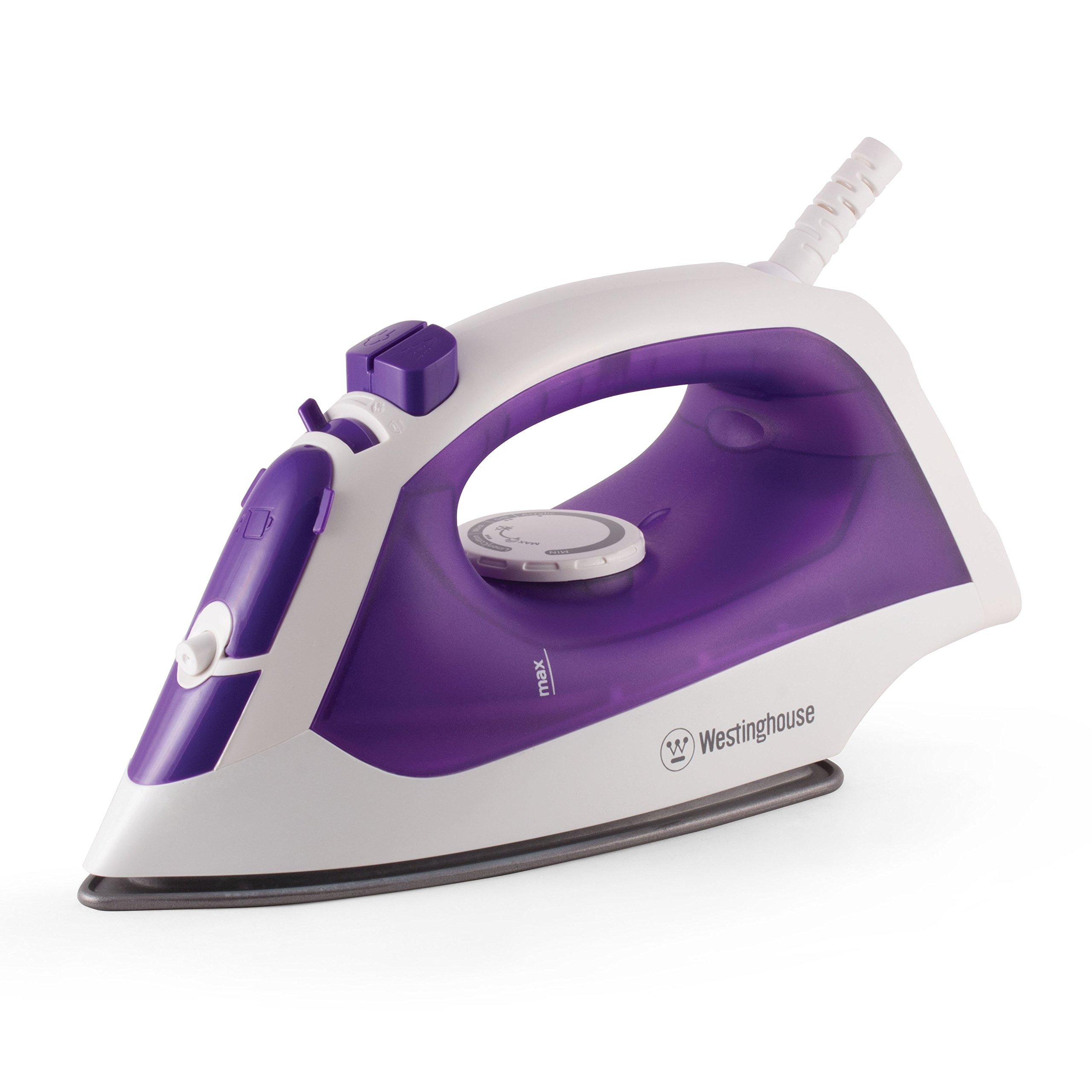 Westinghouse Pro-Series Steam Iron with 5.1 Ounce Water Tank, 1200 Watts, 3-Way Auto-Off Safety Function, White with Purple Accents