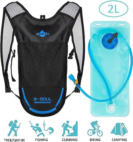 para practicar deporte mochila de hidrataci/ón camping escalada o diclismo Bolsa de agua de 2L para hidrataci/ón senderismo color azul