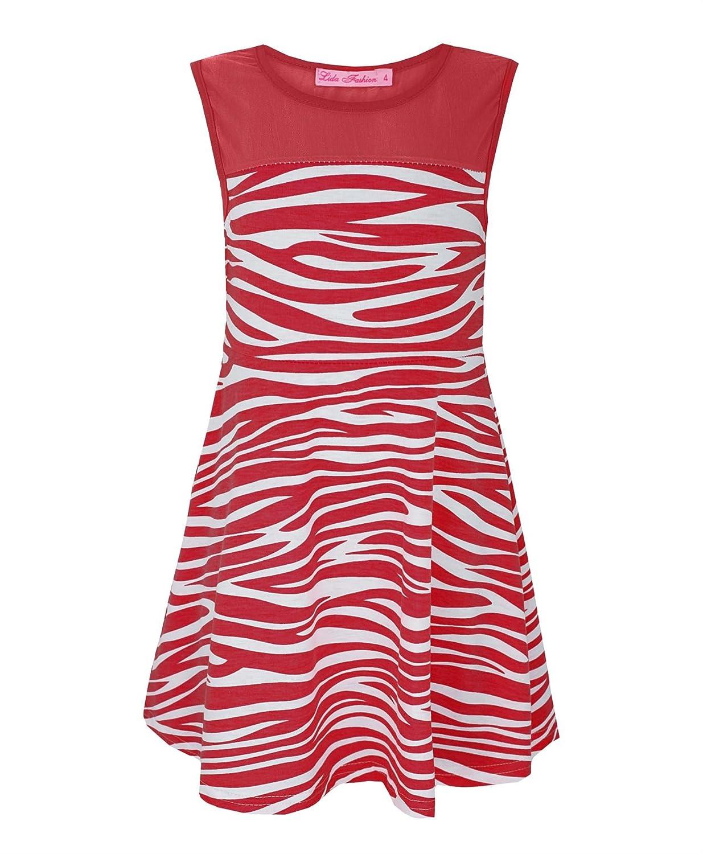 00fc7ee8d3482 Amazon.com: Girls Zebra Print Skater Dress Kids Sleeveless Top Party ...