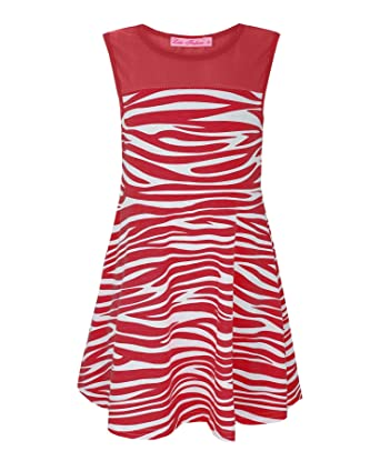 4ccc3ec38b Girls Zebra Print Skater Dress Kids Sleeveless Top Party Casual   Amazon.co.uk  Clothing