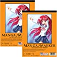 "U.S. Art Supply 9"" x 12"" Premium Manga-Marker Paper Pad, 60 Pound (100gsm), Pad of 24-Sheets (Pack of 2 Pads)"