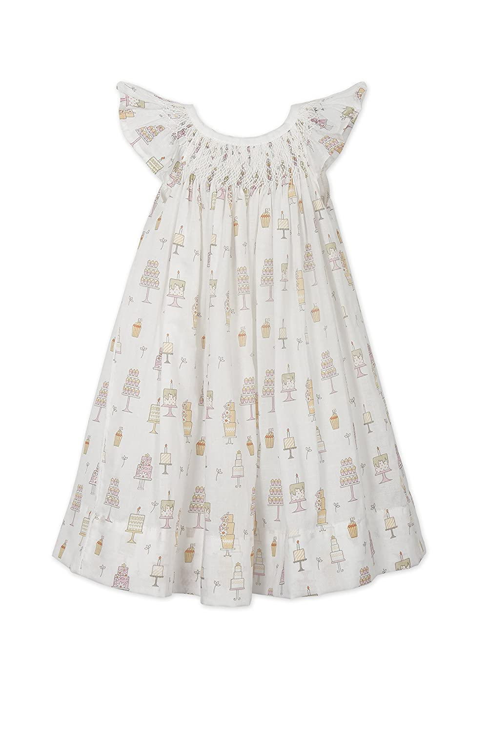 Feather Baby Girls Clothes Pima Cotton Hand-Smocked Angel Sleeve Woven Dress and Bloomer Set