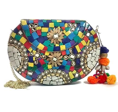 Trend Embrague de las mujeres embrague multi étnico clutch clásico monedero de la vendimia monedero indio del bolso del mosaico del embrague del boho: ...