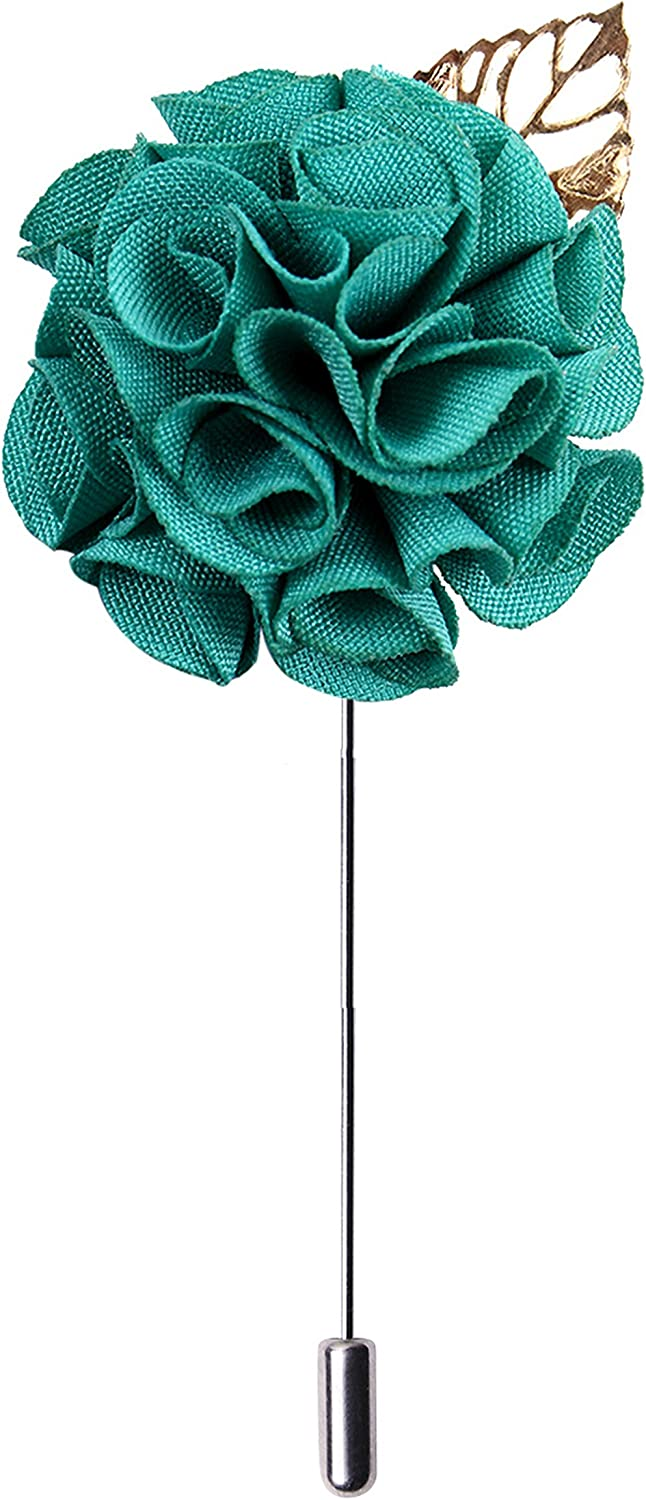 Peluche A Sombre Retreat Green Fabric Floral Brooch Lapel Pin for Men