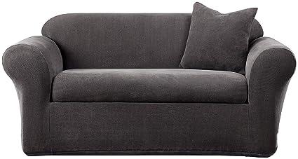 Amazon.com: SureFit SF39413 Stretch Metro Sofa Slipcover, Gray, 2 ...