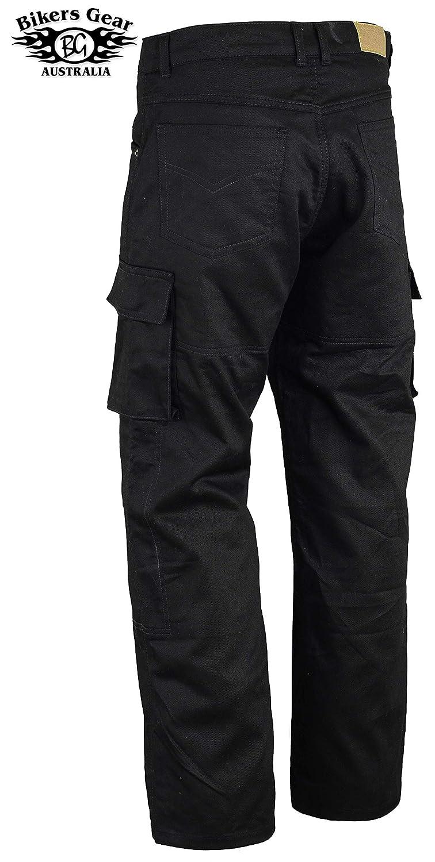 Kevlar CE-Protektoren Motorrad-Jeans//Cargo-Hose Schwarz Bikers Gear Australia ABG