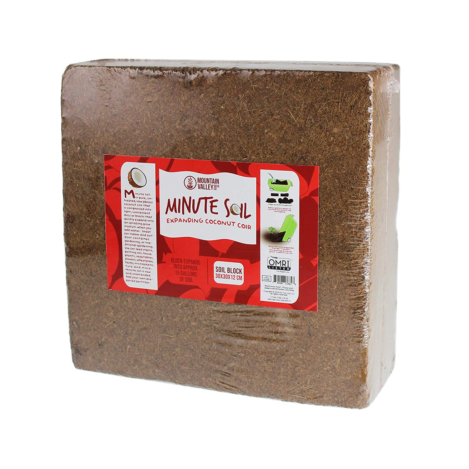 Minute Soil - Compressed Coco Coir Fiber Grow Medium - 1 Block = 15 Gallons of Potting Soil (Approx Wheelbarrow Full) - Gardening, Flowers, Herbs, Microgreens - Add Water - Peat Free - OMRI Organic